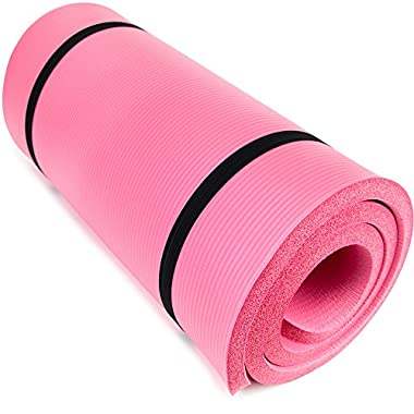 Yoga Cloud Ultra-Thick 1  Yoga and Exercise Mat with Shoulder Sling by Crown Sporting Goods (Pink)