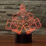 3D führte Hantel Muskel Mann Form Nachtlicht Schlafzimmer Tischlampe 7 Farbe Fitness Dekorationen...