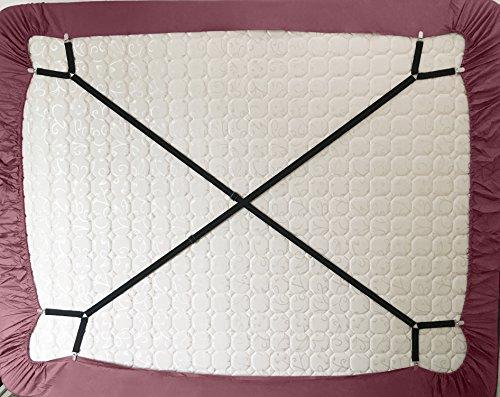 Bettlakenspanner mit Klappschnallen, verstellbar, 2Stück Schwarz