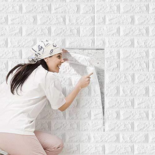 10 Stück 3D Tapete Wandpaneele Selbstklebend Ziegel, Steinoptik Tapete Wasserdicht Wandaufkleber, Wandtapete Schaumstoff für Wanddekoration, 70x77cm, Weiß