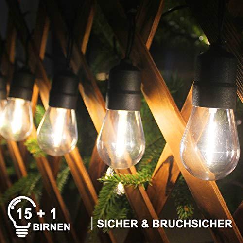 LED Lichterkette Außen Lichterkette Glühbirne Aussen, 15 E27 Warmweiß Bruchsicher Birnen mit 3 Ersatzbirnen, Niederspannung Wasserdichte Geeignet für Weihnachten Hochzeit Party Gärten Terrassen