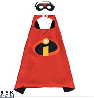 Bek Brands The Incredibles Superhero Cape and Mask Set   Dress up Satin Cape and Felt Mask, Costume for Kids Party