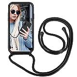GoodcAcy Handykette Handyhülle für Samsung Galaxy Note 10 Plus,Smartphone Necklace Hülle mit Band Schutzhülle mit Kette zum umhängen Halskette Flüssig Silikon Hülle für Galaxy Note 10 Plus,Schwarz