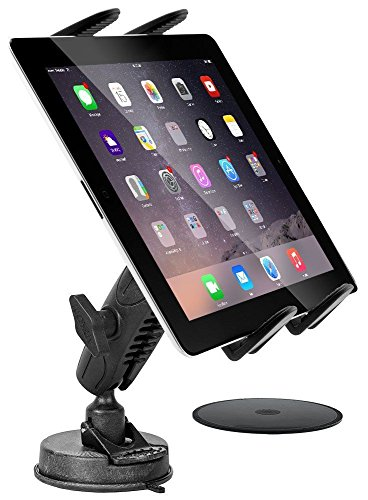 """Digitl Tablet Car Mount,Windshield or Dash Truck Holder for Samsung Galaxy Tab 5 4 3 S3 S4 S5e A E/Apple iPad PRO, iPad Air, iPad Mini (7-13"""") w/Anti-Vibration Swivel Cradle (with or Without case)"""
