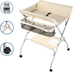 Changing Tables Infant with Wheels  Foldable Design Changing Station Diaper Table for Babies 0-3 Years Old  Color Beige