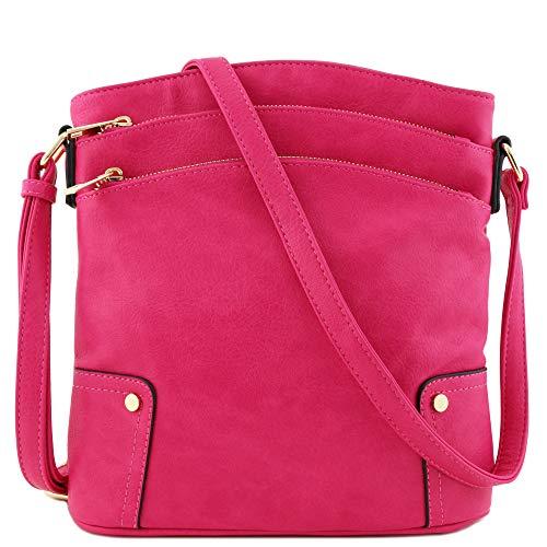 Triple Zip Pocket Large Crossbody Bag (Fuchsia)