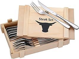 WMF - Juego 6 Cubiertos para Carne, Acero Inoxidable Pulido, 12 piezas