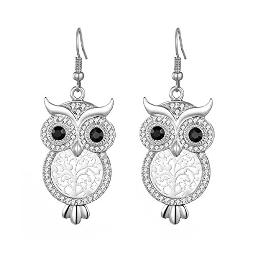 Women's Dangle Earring, Lucky Owl Drop Earring for Girls Gold or Silver Plated Earring with CZ Crystal Nikcel Free (Silver Color)