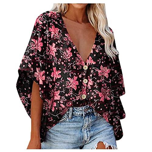 Camisa de Mujer con Cuello En V Y Estampado Floral con Manga de Campana Blusa Suelta con Botones