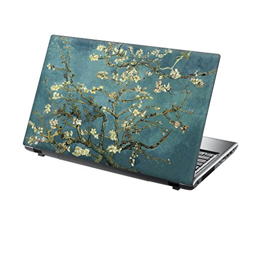 TaylorHe Folie Sticker Skin Vinyl Aufkleber mit bunten Mustern für 15 Zoll 15,6 Zoll (38cm x 25,5cm) Laptop Skin blau / grün Blüte Baum