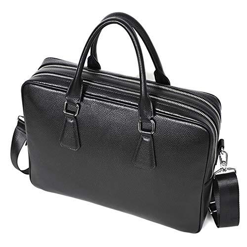 Business Men's Double Zipper Briefcase,Leather Large Capacity Handbag,14 Inch Laptop Bag,Suitable For Men's And Women's Outdoor Sports Hiking Handbag(black)(Color:A)