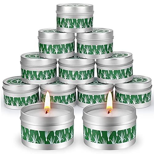 Supersun 12 Stück Citronella Kerze Outdoor Kerzen Draußen, 15Std*12 Zitronell Kerze Sojawachs Citronella Kerzen für Garten, Terrasse