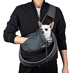 WOYYHO Pet Dog Sling Carrier Puppy Sling Bag Small Cats Dogs Sling Adjustable Strap Breathable Mesh for Outdoor Travel(M(up to 10 lbs), Black)