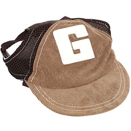 Disfraz de perro Gorra de béisbol del perro casero Deportes sombrero de la caza del gato al aire libre mascota de moda Sunbonnet Sun casquillo ajustable agujeros de las orejas Verano Viajes sombrero c