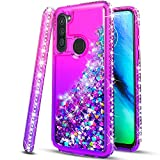 STARSHOP- Samsung Galaxy A11 Phone Case, [NOT FIT A10/A10E/A21/S10] with [Tempered Glass Screen Protector Included] Liquid Floating Glitter Quicksand Bling with Spot Diamond Cover - Pink/Purple