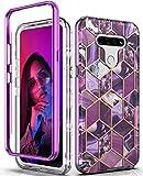 Hasaky Case for LG K51 (2020) Case,Dual Layer Hybrid Bumper Clear Cute Girl Purple Marble Design Soft TPU+Hard Back Heavy Duty Anti-Scratch Shockproof Protective Phone Case for LG K51-Purple/Marble.