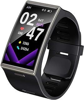 WUHUAROU 1,9 Pulgadas 170 * 320 Pantalla Reloj Inteligente Impermeable frecuencia cardíaca presión Arterial Smartband para Android iOS (Color : Black)