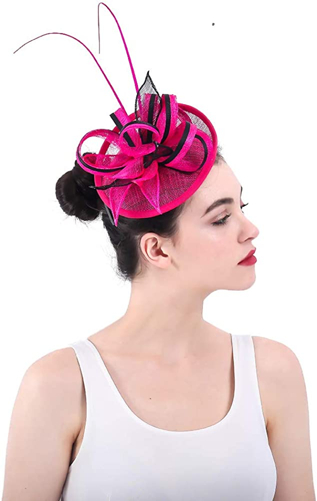 yonquil Hot Pink Party Headwear Ostrich quill Adorned Fascinator with Feather SYF333