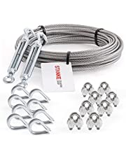 Seilwerk STANKE Cuerda de acero galvanizado 5m, Cuerda de acero con diámetro 3mm 6x7, 2x tensor gancho-ojo M5, 8x guardacabo, 8x abrazadera - SET 5