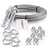 Seilwerk STANKE Cuerda de acero galvanizado 20m, Cuerda de acero con diámetro 3mm 6x7, 2x tensor gancho-ojo M5, 8x guardacabo, 8x abrazadera - SET 5