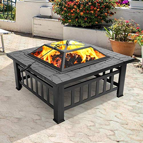 Outdoor Metal Square Fire Pit, 32' Metal firepit for Patio Wood Burning Fireplace Square Garden Stove with Charcoal Rack, Poker & Mesh Cover for Camping Picnic Bonfire Backyard