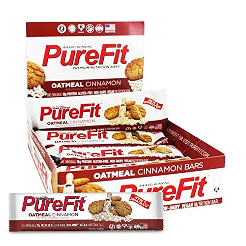 PureFit Protein Bar - All-Natural, Gluten-Free, Non-GMO, Vegan Protein Bars - Meal Replacement Bar - Oatmeal Cinnamon Bar, 2oz (Pack of 15)