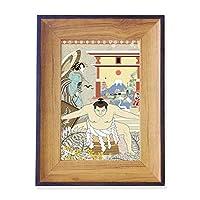 日本の浮世絵の葉 フォトフレーム、デスクトップ、木製