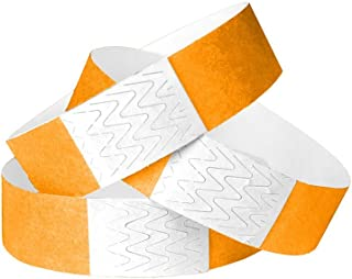 WristCo Neon Orange 3/4 Inch Tyvek Unnumbered 500 Count Paper Wristbands for Events