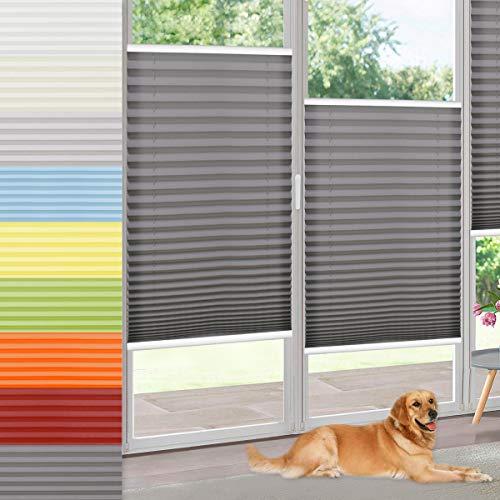 Vkele Plissee ohne Bohren klemmfix Jalousie (Anthrazit, B80cm x H130cm) Faltrollo Sichtschutz und Sonnenschutz Lichtdurchlässig Rollo für Fenster & Tür