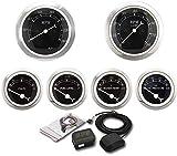 MOTOR METER RACING 6 Gauge Set Classic with GPS Electrical Speedometer Digital Odometer Black Dial