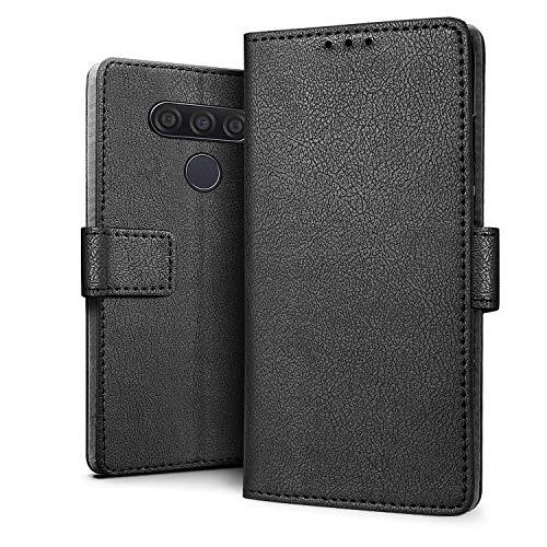 HDRUN Hülle Kompatibel für LG Q60 Hülle - Premium PU Leder Flip Tasche Hülle mit Kartensteckplätzen & Ständerfunktion Schutzhülle Handyhüllen für LG Q60, Schwarz