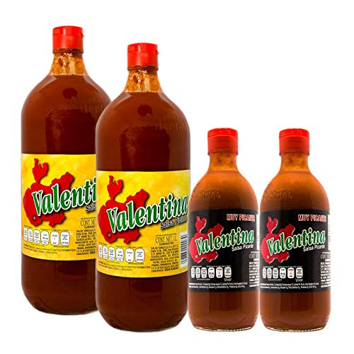 2 Botellas de Salsa Picante Valentina Roja de 1L y de regalo 2 botellas pequeñas de Salsa Valentina, etiqueta Negra extra picante