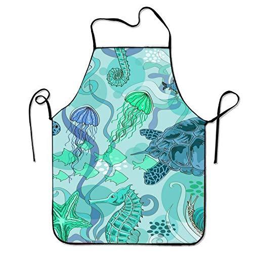 N\A Summer Pool Doodle von Menschen auf lustigen Swim Float Rubbers Happy Boys und Girls Schürze zum Kochen Garten Lätzchen BBQ Unisex Durable