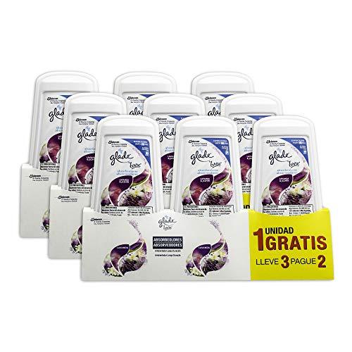 GLADE Gel Ambientador Absorbeolores de Larga duración para baños armarios y Espacios pequeños, Fragancia Lavanda aceites Esenciales, 3x150 gr, 9 Unidades (Pack de 3), Blanco, Estandar