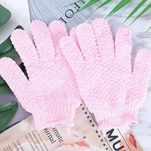 Gants de travail Ménage Gants de bain Five Fingers Gants de bain peau morte exfoliant double face (Color : PINK)
