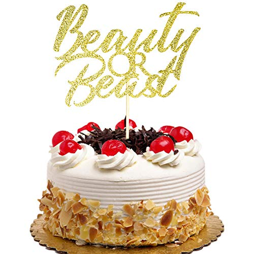 Beauty or Beast Cake Topper, Gender Reveal Party Decorations, Baby Shower Cake Toppers, Gold Glitter