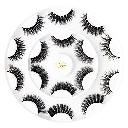False Eyelashes, 6D Fake Eyelashes with Eyelash Glue, Reusable Handmade Long Natural Dramatic Lashes, Soft, Fluffy, Wispies for Daily, Casual Events, Daytime Outings and More, 8 Pairs