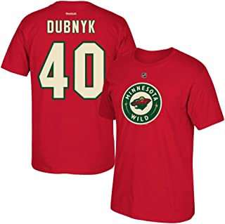 adidas Devan Dubnyk Reebok Minnesota Wild Player Premier N&N Red Jersey T-Shirt Men's