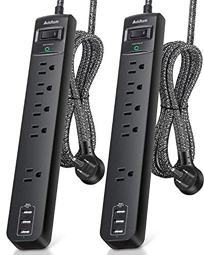 2 Pack Power Strip Surge Protector - 5 Widely Spaced Outlets 3 USB Charging Ports, 1875W/15A with 6Ft Braided Extension Cord, Flat Plug, Overload...