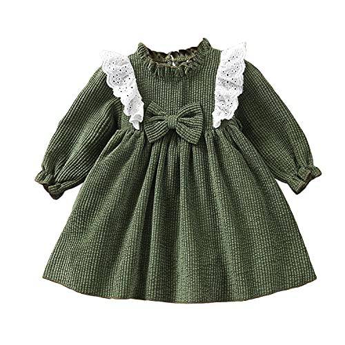 Alunsito Vestido de manga larga con lazo para niñas pequeñas y niñas, juego de ropa de otoño para niños recién nacidos, falda de color sólido, verde, 24 meses