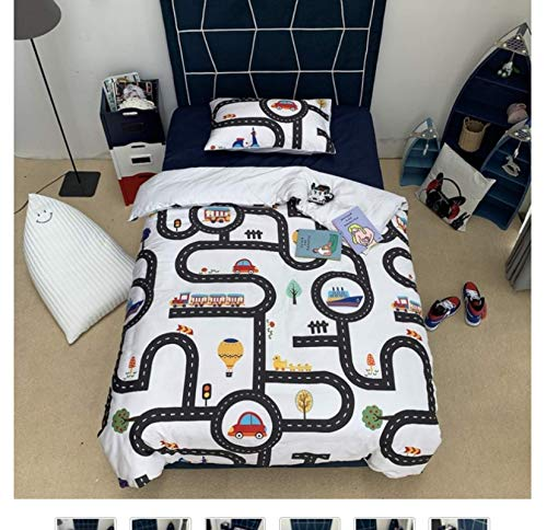 QGHZSCS Duvet cover set Traffic track cartoon car children decorative 3 piece Microfibre Bedding Set,With zipper, 2 Pillowcases size: 220x260 Cm