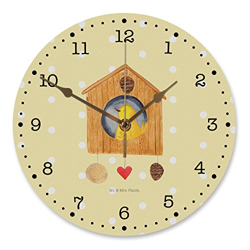 Mr. & Mrs. Panda Wanddeko, Uhr, 30 cm Wanduhr Vogelhaus - Farbe Gelb Pastell
