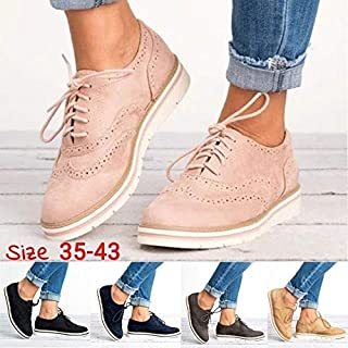 Women's Platform Lace Up Wingtips Oxfords Shoe Casual Brogue Shoes(Blue,43)