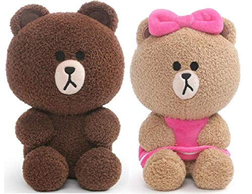 """GUND Line Friends Plush Bundle of 2, 7"""" Seated Choco and Brown"""