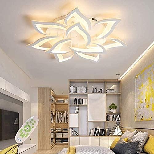 LED Deckenleuchte dimmbar mit fernbedienung farbwechsel Schlafzimmer Deckenlampe moderne Deckenbeleuchtung Wohnzimmerlampe Kronleuchter Lampe (85cm/33.5in, Dimming)