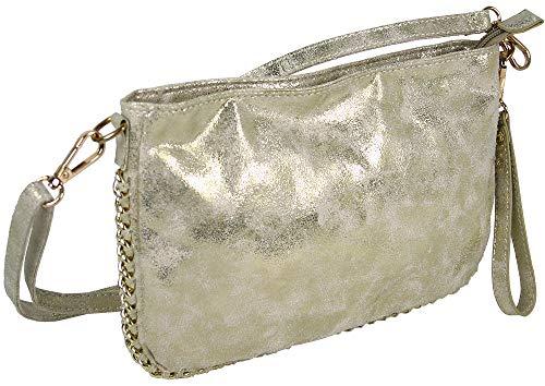 JenniferJones Kleine Damen Handtasche - Clutch Schultertasche mit Handschlaufe und Schultergurt - in gold-beige