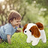 Realistic Teddy Dog Lucky - Electric Imulation Plush Stuffed Animal Puppy Dog Can Bark and Walk with Tail, Handmade Cute Soft Teddy Robot Dog for Kids Toddlers on Halloween Christmas (Dark Brown)