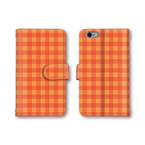【ノーブランド品】 DIGNO T 302KC スマホケース 手帳型 チェック柄 オレンジ かわいい おしゃれ 携帯カバー 302KC ケース 携帯ケース ディグノティー