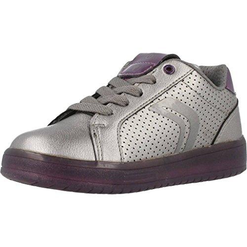 Geox Damen J KOMMODOR Girl A Sneaker, Silber (Dk Silver/Prune), 38 EU