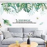 Wandtattoo Blätter Grün Wandbild Tropische Pflanzen, DIY Klebend Blumen set, Wandsticker Blumen, Deko für Wohn-Schlafzimmer Kinderzimmer Küche Flur (B)
